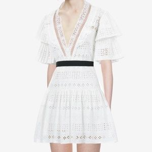 SELF PORTRAIT BRODERIE ANGLAISE STRIPE WHITE DRESS